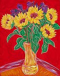 Five Sunflowers on Red Wall